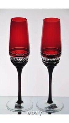 2 Waterford John Rocha Voya Ruby Red Cut to Clear Crystal Wine Champagne Flutes