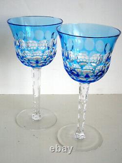 2 Waterford Simply Blue Cranberry Cased Cut To Clear Crystal Wine Goblets