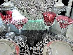 2 Waterford Simply Pink Cranberry Cased Cut To Clear Crystal Wine Goblets