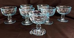 22 Vintage Fostoria Navarre Blue Crystal Water Wine Goblets Ice Cream Glass Set