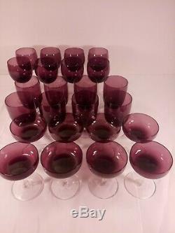 24 Pieces Signed Fostoria Amethyst Purple Crystal Stemware Wine Water Champagne