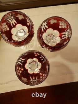 3 Ajka Martisa Wine Glasses Ruby Red Cut To Clear Crystal Bohemian Hungary