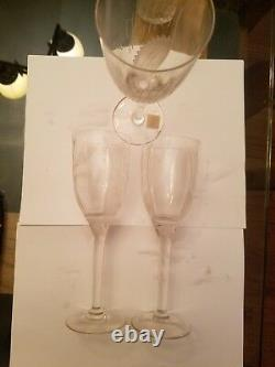 3 Lalique Crystal Angel Champagne Wine Flute Glass 8