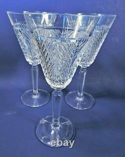 3 RALPH LAUREN crystal HERRINGBONE 8.5 WINE GLASSES (MWOT)