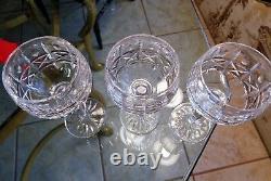 3 Waterford Crystal Kylemore Hock Wine Stem Goblets -7 3/8H