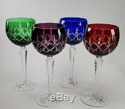 4 AJKA Arabella Color to Clear Crystal Wine Hock Stem Glasses 8 1/4 Tall