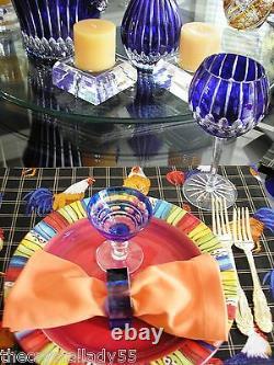 4 AJKA Castille Cobalt Blue Cased Cut to Clear crystal balloon wine goblets