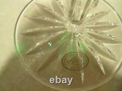 4 AJKA Castille Emerald Green cut to clear crystal balloon wine goblets