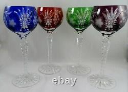 4 AJKA Cut Crystal Glass Hock Wine Goblets Martisa Blue Red Green Purple