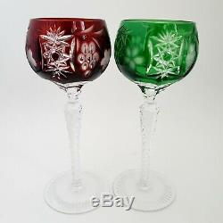 4 AJKA Marsala Cut To Clear Crystal Wine Hocks Blue Green Amethyst Red Grapes