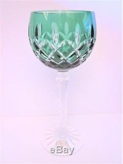 4 Ajka Arabella Cased Cut-to-clear Crystal Hock Wine Glasses Goblets Hungary