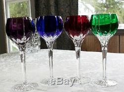 4 Ajka Castille Modern Cut To Clear Cryctal Wine Goblets