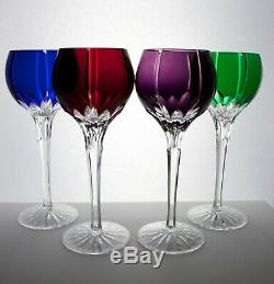 4 Ajka Castille Modern Cut To Clear Cryctal Wine Goblets