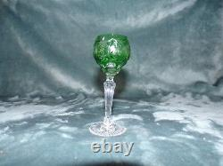 4 Ajka Marsala Cut To Clear Green Cased Crystal Wine Glasses Set Of 4