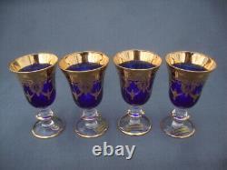 4 Arte Italica A1Z2 Cobalt Blue Gold Encrusted Crystal Wine Goblets 24k SC Line