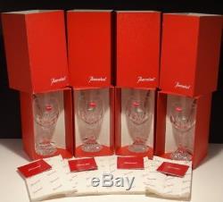 4 Baccarat Crystal Massena Claret Red Wine Glasses #3 Signed 6 1/2