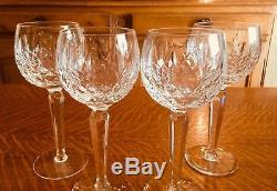 4 Beautiful Waterford Signed Crystal Kilcash Pattern Wine Hock Glasses Ireland