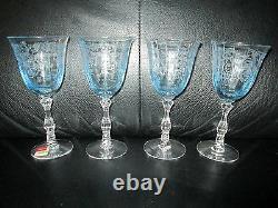 4 Claret Fostoria Navarre Blue Crystal Wine Glasses 6 Tall Etched 4 1/2 oz
