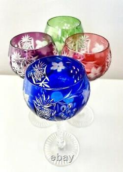 4 Color Bohemian Hock Cut Clear Crystal Wine Glass Goblets Red Green Blue Purple