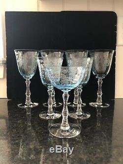 4 Fostoria Navarre Blue Crystal Water Tall Goblets Wine Glasses 7 5/8 Etched