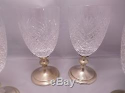 4 Hawkes Sterling Silver Diamond Cut Glass Crystal Water Wine Goblet Set