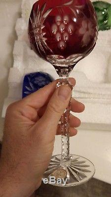4 Hungarian bohemian Cased Cut To Clear Crystal long stem wine glass never used