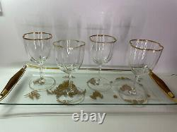 4 MOSER LOBMEYR QUATREFOIL LOBED CRYSTAL WINE GOBLET STEM, CLEAR with GILT
