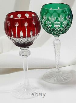 4 Multi Color Cut To Clear Crystal Wine Hock Glasses Ajka