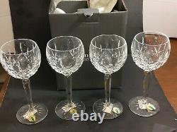 4 New in Box Waterford Crystal Lismore Hock Wine Glasses 7.5 All Tags
