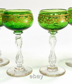 4 Saint (St) Louis France Green Crystal Glass and Gilt Wine Goblets In Beethoven