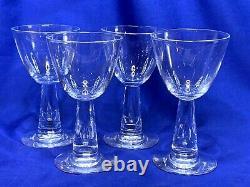 4 Signed Steuben art glass #7980 teardrop stem wine glasses