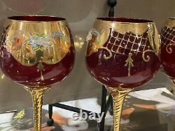 4 Venetian Murano Glass Ruby Red Wine Water Goblet 24K Gold Hand Made Italy