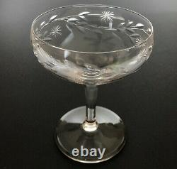 4 Vintage Crystal Etetched Stemware Glass Champagne Wine Cocktail Coupe Set of 4