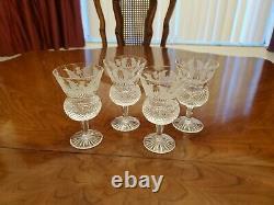 4 Vintage Edinburgh Cut Crystal Thistle Pattern White Wine Glasses