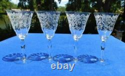 4 Vintage Fostoria Needle Etched 7 5/8 Tall Crystal Water/Wine Goblets