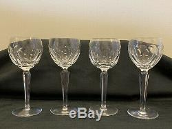 4 Vintage Signed Waterford Crystal SHEILA 7-3/8 Wine Hock Glasses Stems EUC