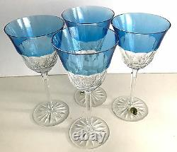 4 WATERFORD GLENDORA Blue Azure Azzurro CASED CUT TO CLEAR CRYSTAL WINE GOBLETS