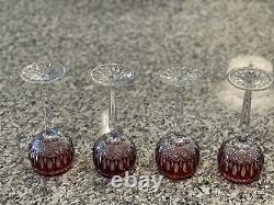 4 Waterford Crystal Clarendon Wine Hock Glasses Ruby Red