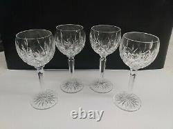 4 Waterford Crystal Tall Hock Wine Goblet Glasses Lismore