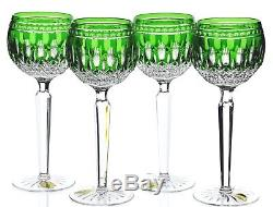 4 Waterford Emerald Green Cut to Clear Crystal Clarendon Wine Hocks Goblets New
