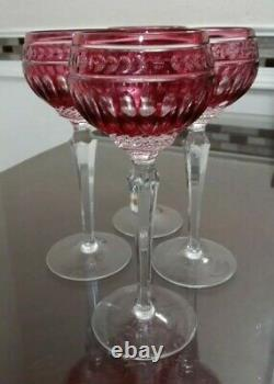 4 Wedgwood Crown Ruby Wine Hock Crystal 8 1/4 Glasses