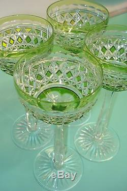 4pc Crystal Waterford Chartreuse lime green hock drinking wine / water glass