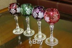 4x vintage Bohemian cut to clear crystal Traube by NACHTMANN wine hock GOBLETS