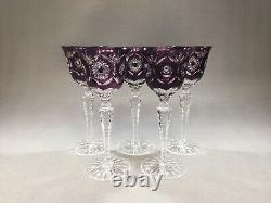 5 AJKA Hungary Crystal Amethyst Purple Cut to Clear Cased Wine Glasses 7.5 H