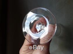 5 Antique Victorian Cut Crystal Wine Glasses on Facet Cut Stem, VGC