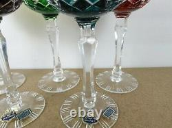 5 Beyer Crystal Wine Hock Goblets Glasses Red Green Blue Cut 2 Clear (ie@b4)