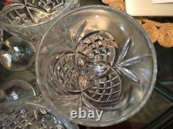 5 Used Waterford Lismore Nouveau Platinum Crystal White Wine Glasses, Goblet
