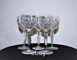 5 Waterford Crystal Lismore Wine Hock Glasses 7.5 Excellent Condition