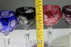 5 x Vintage'Harlequin' Cut To Clear Crystal Wine / Hock Glasses