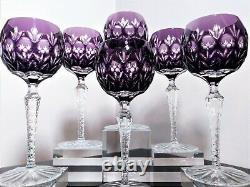 6 Ajka Crystal Amethist Florderis Wine Goblet, 24% lead crystal handcut